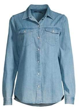 J Brand Women's Perfect Button-Down Denim Shirt - Blue Shift - Size Small
