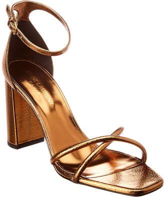 Saint Laurent Loulou Crisscross 90 Metallic Leather Sandal