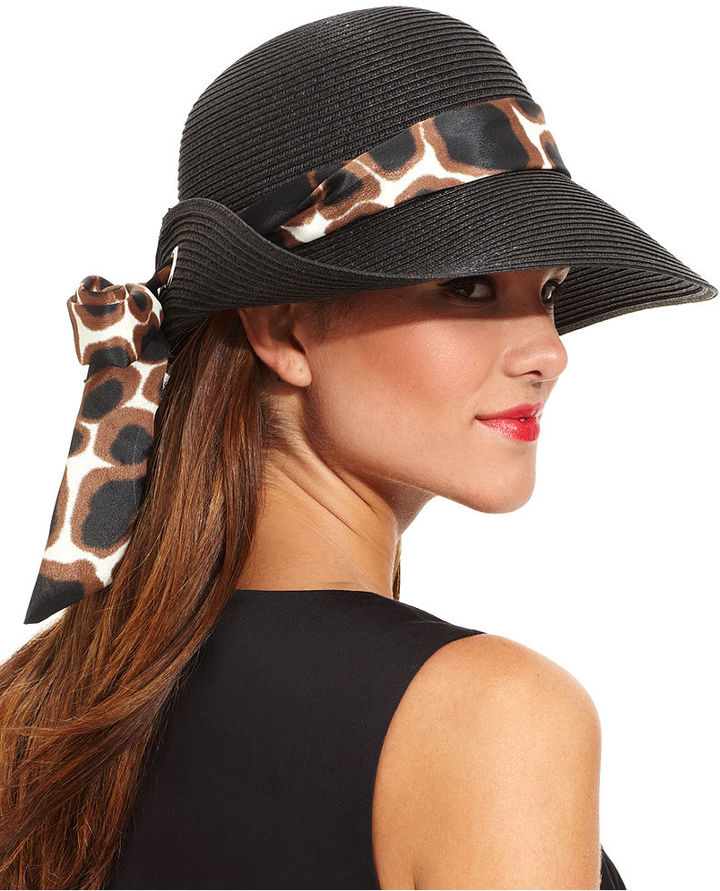 Nine West Hat, Animal Print Scarf with Eyelet Floppy