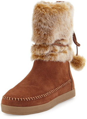TOMS Nepal Faux-Fur Bootie, Brown Rawhide $58 thestylecure.com