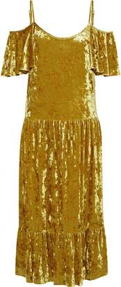 Rebecca Minkoff Cold-shoulder Ruffled Crushed-velvet Midi Dress