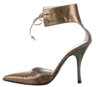 Gucci Metallic Ankle Strap Pumps