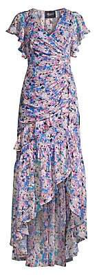 Shoshanna Women's Elnora Floral Silk-Blend Ruched Asymmetric High-Low Dress - Size 0
