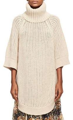 Chloé Oversized Chunky Open-Knit Turtleneck Poncho, Beige