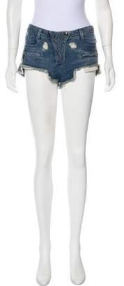 Pierre Balmain Denim Distressed Mini Shorts