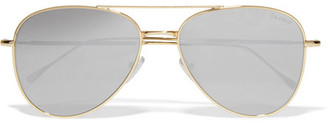 Illesteva - Wooster Aviator-style Gold-tone Sunglasses - Silver $190 thestylecure.com