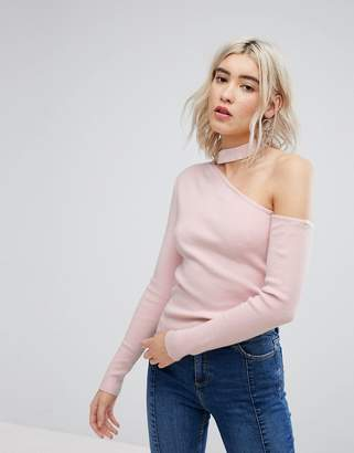 Urban Bliss Exposed Shoulder Knit with Choker Detail