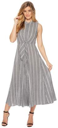 Calvin Klein Tie Front Gingham Maxi CD8G27HU Women's Dress