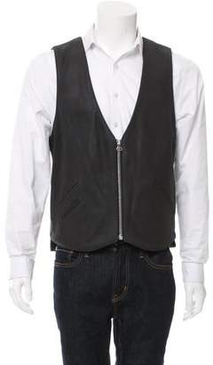 Maxwell Snow Zip-Front Leather Vest w/ Tags