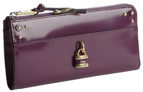 Chloé purple pansy leather padlock zip wallet