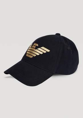 Emporio Armani Velvet Baseball Cap With Metallic Logo