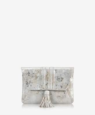 GiGi New York Ava Clutch In Silver Brush Metallic