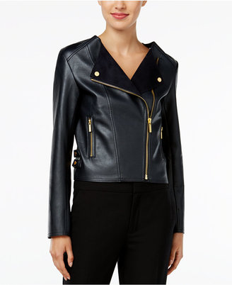 MICHAEL Michael Kors Cropped Faux-Leather Moto Jacket $195 thestylecure.com