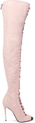 Balmain Campbel Leather-trimmed Suede Thigh Boots - Baby pink