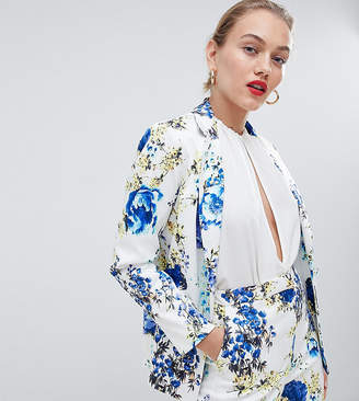 Asos Design DESIGN Petite tailored floral print single breasted blazer