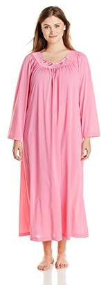 Shadowline Women's Plus-Size Petals 53 Inch Long Sleeve Long Gown