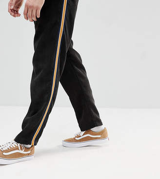 Reclaimed Vintage Inspired Black Cropped Cord PANTS With Tape Detail
