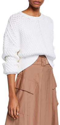 Vince Directional Rib Pullover Boxy-Fit Sweater