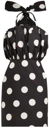 MSGM Polka Dot Cotton Faille Mini Dress - Womens - Black White