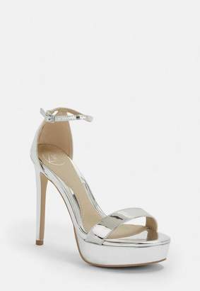 Missguided Silver Simple Strap Platform Sandals
