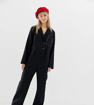 Reclaimed Vintage inspired boilersuit with wrap front in pinstripe