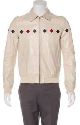 Saint Laurent 2019 Teddy Diamond Leather Varsity Jacket
