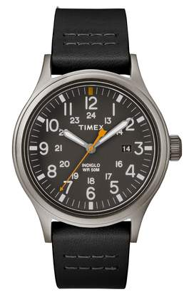 Timex R) Allied Leather Strap Watch, 40mm