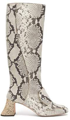 Rochas Pascal Glitter Heel Leather Boots - Womens - White Multi