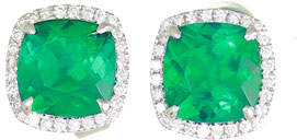 Frederic Sage 18K White Gold Cushion Lab-Created Emerald & Diamond Halo Stud Earrings