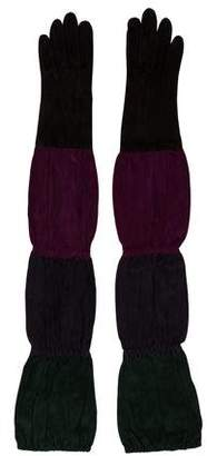 Hermes Multicolor Suede Long Gloves