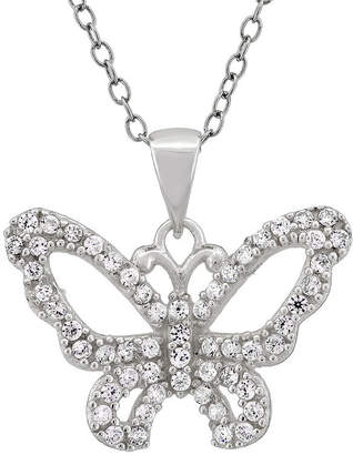 FINE JEWELRY Diamonart Womens 1 CT. T.W. White Cubic Zirconia Sterling Silver Butterfly Pendant Necklace