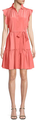 Kate Spade silk dress w/ ruffle sleeves & collar