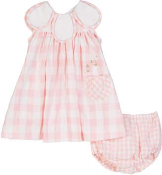 Luli & Me Gingham Petal-Collar Dress w/ Matching Bloomers, Size 3-24 Months