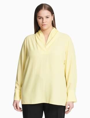 Calvin Klein Plus Size V-Neck Long Sleeve Top