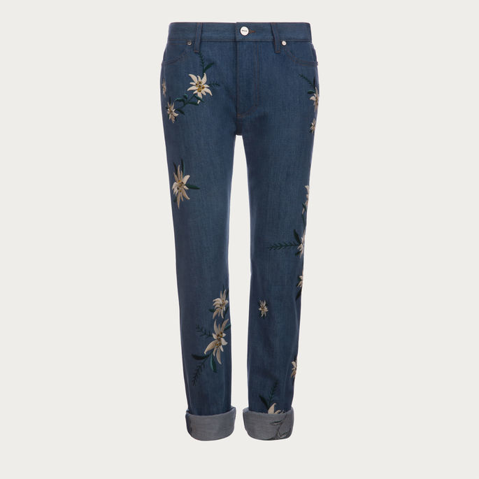 Bally Embroidered Swiss Flower Jeans