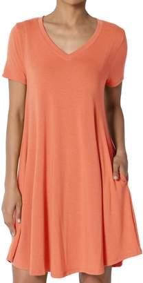TheMogan Women's V-Neck Short Sleeve Draped Jersey Pocket Tunic Dress 1XL