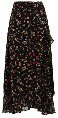 Ganni Elm Floral Print Georgette Wrap Skirt - Womens - Black