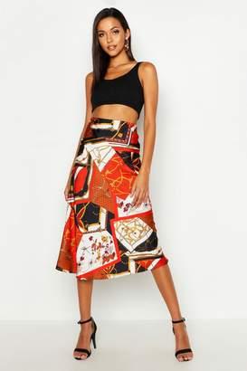 boohoo Tall Chain Print Satin Midi Skirt
