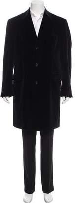 Zanella Velvet Button-Up Overcoat