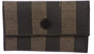 Fendi Pequin Leather-Trimmed Wallet