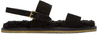 Saint Laurent Black Shearling Noe Sandals