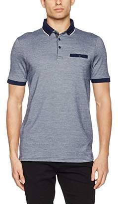 Burton Menswear London Men's Two Tone Pique Polo Shirt, (Mid Blue), Medium