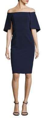 Black Halo Eloise Cape Overlay Sheath Dress