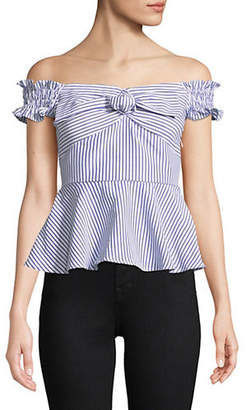 Lord & Taylor DESIGN LAB Off-The-Shoulder Bow Front Peplum Top