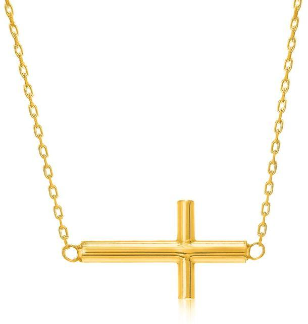 Ice 14K Yellow Gold Necklace with a Polished Cross Design
