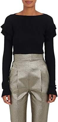 Philosophy di Lorenzo Serafini Women's Ruffled-Sleeve Rib-Knit Cotton Shirt