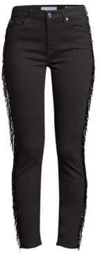 Beaded Fringe Ankle Skinny Jeans