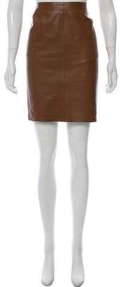 Akris Knee-Length Leather Skirt Brown Knee-Length Leather Skirt