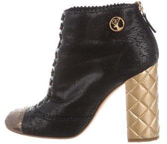 Chanel Textured Cap-Toe Boots