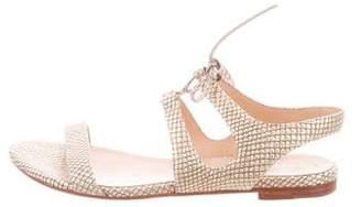Pour La Victoire Animal Print Lace-Up Sandals